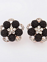 Luxury Super Flash Bling Crystal Shamballa Princess Ball 925 Sterling Silver Women Stud Earrings Party Jewelry