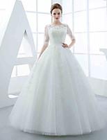 A-라인 웨딩 드레스 바닥 길이 쥬얼리 튤 와 아플리케 / 비즈 / 허리끈 / 리본