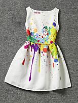 Vestido Chica de-Verano-Poliéster-Blanco