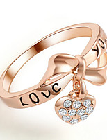 Love Peach Heart Bow Ring Gold Bridal Jewelry