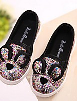 Girls' Shoes Casual Glitter Loafers Spring / Summer / Fall Comfort Black / Pink / Silver