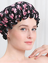 Printed Soft Satin Fabric Shower Caps Waterproof Spa Bath Elastic Hat Cap  Household For Women