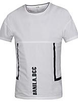 Masculino Camiseta Algodão Cor Solida Manga Curta Casual / Escritório / Formal / Esporte-Preto / Branco