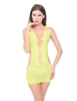 Women's Simple Hollow Out Mesh Ultra Sexy Nightwear,Spandex