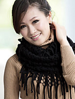 Women Fringed Hollow Pure Color Hedging Warm Wool Knit Scarf