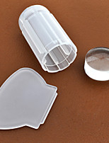 1pcs Milky White Transparent Nail Art Stamping Stamper Scraper Set 2.8cm Clear Jelly Stamp Manicure Tools