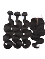 Brazilian Virgin Hair With Closure 3Bundles With Closure Brazilian Body Wave With Closure