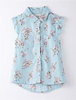 Girl's Print Shirt,Cotton Summer Blue