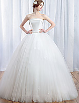 Ball Gown Wedding Dress-Ivory Floor-length Strapless Satin / Tulle