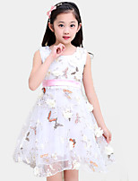 Girl's Casual/Daily Print Dress,Cotton / Polyester All Seasons Pink / White