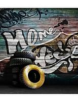 3D Shinny Leather Effect Large Mural Wallpaper Vintage Graffiti Art Wall Decor Wall Paper