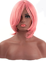 Fashionable Pink Color Short Length Straight Cosplay Synthetic Wigs