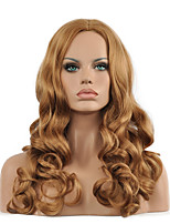 New Women's Fashion Synthetic Hair Wigs Long Wavy Middle Bangs Blonde Fiber Heat Resistant Lady Sexy Hair Full Wig