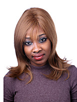 cor marrom longo naturais destaca peruca sintética para a mulher