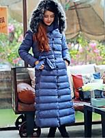 Women's Solid Blue / Black Padded Coat,Simple Hooded Long Sleeve