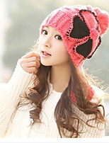 Lady Lovely Warm Wool Hat Big Ball Knitted Autumn And Winter Hat