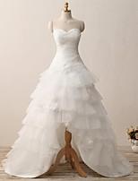 A-라인 웨딩 드레스 코트 트레인 스윗하트 오간자 와 아플리케