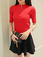 Women's Solid Red / White / Black Pullover,Simple Short Sleeve