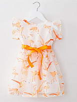 Girl's Orange Dress,Floral Cotton / Polyester Summer