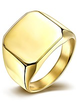 lureme® Vintage Classic King Stainless Steel with Square Plain High Polished Ring -Golden Plated