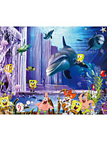 JAMMORY Art Deco Wallpaper Contemporary Wall Covering,Canvas Stereoscopic Large Mural Spectacular Fish Cartoon Landscape