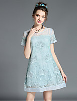 Elegant Women's Vintage Fashion Plus Size Lace Hollow Patchwork Short Sleeve Dress