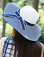 Women Vintage Cute Casual Spring Summer Black And White Striped Bows Hand-woven Straw
