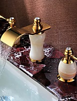 Luxury Stone Natural Jade Brass Bathroom Basin Faucet 3 Holes 2 Handle Hot Cold Sink Mixer Tap Gold Finish