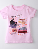 Girl's Print Tee,Cotton Summer Pink