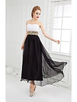 Formal Evening Dress Ball Gown Sweetheart Ankle-length Chiffon with Beading / Draping