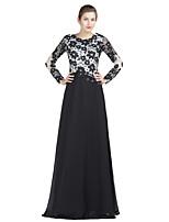 Földig érő Szűk szabású Örömanya ruha-Fekete Sifon / Csipke