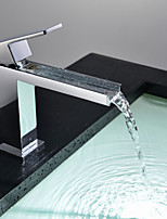 PHASAT Bathroom Sink Faucet in Modern Style Single Handle Waterfall Bathroom Sink Faucet (Chrome Finish)