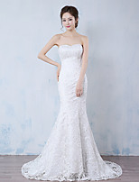 Trumpet / Mermaid Wedding Dress Sweep / Brush Train Strapless Lace with