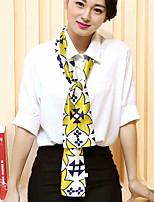 Women Long Paragraph Yellow Geometric Pattern Printing Multi-purpose Scarf Fashion Career Decorative Work Casual Silk