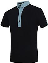 Tee-Shirt Pour des hommes Mosaïque Décontracté / Travail / Formel / Sport Manches Courtes Coton Noir / Blanc