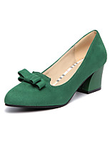 Women's Fall Heels / Pointed Toe / Comfort Fleece Office & Career / Casual Chunky Heel Bowknot Black / Green / Gray