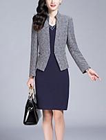 Women's Work / Plus Size Street chic Sheath Dress,Print Deep V Above Knee Long Sleeve Blue / Red Polyester Fall