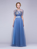 Formal Evening Dress A-line Bateau Floor-length Tulle / Sequined