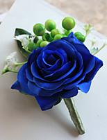 Bouquets de Noiva Forma-Livre Rosas Alfinetes de Lapela Casamento / Festa / noite Azul Poliéster / Cetim