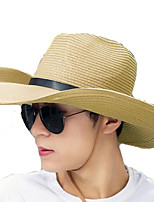 Men Summer Solid Straw Leather Belt Wide Brim Foldable Straw Sun Hat with Drawstring