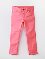 Girl's Solid Pants,Cotton Summer Pink