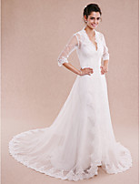 Women's Wrap Coats/Jackets Half-Sleeve Tulle Ivory Wedding Appliques