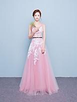 포멀 이브닝 드레스 A-라인 스쿱 바닥 길이 레이스 / 튤 와 레이스