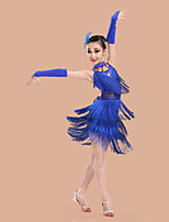 Latintanz-Kleider(Blau / Fuchsie / Rot,Elastan / Polyester,Latintanz) - fürKinder Handschuhe / Kleid / Neckwear / Kopfbedeckungen Ärmellos