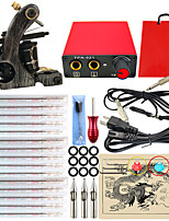Professional Complete 1 Gun Tattoo Machine Kit Power Supply 15PCS Needle Grips Tips