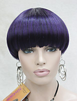 Fashion Center Dot Skin Top Purple Mix Black Bob Mushroom Style wig with Bangs