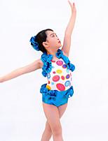 Jazz Outfits Kinderen Prestatie elastan Roesjes 3-delig Blauw Jazz Mouwloos Natuurlijk Gympak / Hoofddeksels / Shorts