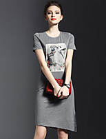 Women's Simple / Street chic Floral Plus Size Dress,Round Neck Knee-length Cotton / Polyester