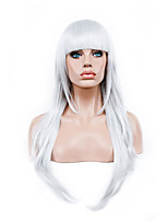 70 Cm Harajuku Anime Colorful Cosplay Wigs Young Long Curly Synthetic Hair Wig White Synthetic Wigs