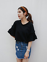 Women's Solid Pink / Black T-shirt,Round Neck ½ Length Sleeve